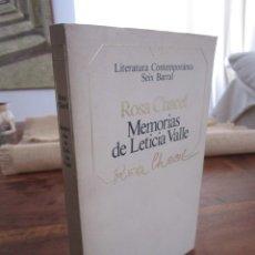 Libros de segunda mano: MEMORIAS DE LETICIA VALLE. ROSA CHACEL. LITERATURA CONTEMPORANEA, 27 SEIX BARRAL,1985. Lote 262903115