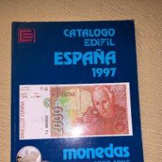 Libros de segunda mano: CATÁLOGO EDIFIL ESPAÑA 1997. MONEDAS DE 1889-1995 Y BILLETES DE 1869-1996.. Lote 278641523