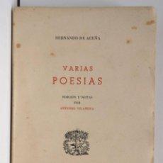 Libros de segunda mano: HERNANDO DE ACUÑA VARIAS POESÍAS - SELECCIONS BIBLIÓFILAS. Lote 280124373