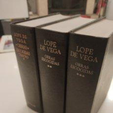 Libros de segunda mano: LOPE DE VEGA CARPIO OBRAS ESCOGIDAS 3 TOMOS EDITORIAL AGUILAR BUEN ESTADO. Lote 283844788