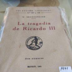 Libros de segunda mano: LA TRAGEDIA DE RICARDO III 1941. Lote 292043418