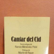 Libros de segunda mano: CANTAR DEL CID. RAMON MENENDEZ PIDAL. EDITORIAL ESPASA CALPE. Lote 297281193
