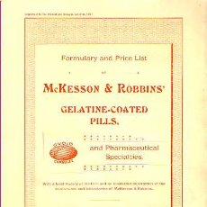 Libros de segunda mano: FORMULARY AND PRICE LIST OF MCKESSON & ROBBINS' GELATINE-COATED PILLS.1987. Lote 24851607