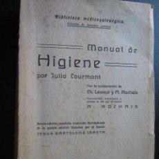 Libros de segunda mano: MANUAL DE HIGIENE. COURMONT, JULIO. 1944. Lote 28313649