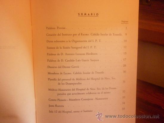 Libros de segunda mano: INSTITUTO DE FISIOLOGIA Y PATOLOGIA REGIONALES DE TENERIFE-SESIÓN INAUGURAL 1955 - Foto 2 - 28498005