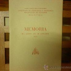 Libros de segunda mano: MEMORIA DEL QUINTO AÑO DE ACTUACIÓN-1959. INSTITUTO DE FISIOLOGÍA Y PATOLOGÍA REGIONALES DE TENERIFE. Lote 28581658