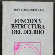 Libros de segunda mano: FUNCION Y ESTRUCTURA DEL DELIRIO - JOSE LUIS MEDIAVILLA - ILUSTRACIONES B/N. Lote 30268255