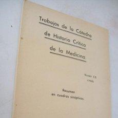 Libros de segunda mano: TRABAJOS DE LA CÁTEDRA DE HISTORIA CRÍTICA DE LA MEDICINA-TOMO IX-1940-RESUMEN EN CUADROS SINÓPTICOS. Lote 36394357