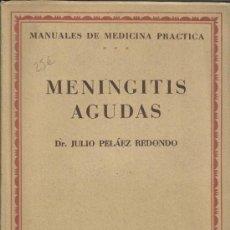 Libros de segunda mano: MENINGITIS AGUDAS.DR. JULIO PELÁEZ REDONDO. MANUALES DE MEDICINA PRÁCTICA. SALVAT EDITORES. 1950. Lote 38711288