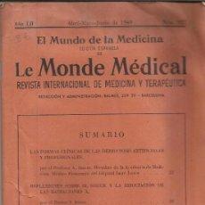 Libros de segunda mano: REVISTA EL MUNDO DE LA MEDICINA, EDICIÓN ESPAÑOLA DE LE MONDE MEDICA. BARCELONA. 1949. Lote 38843137