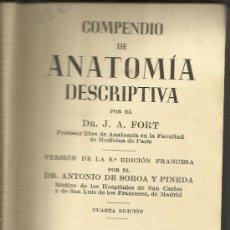 Libros de segunda mano: ANATOMÍA DESCRIPTIVA. J.A. FORT. EDITORIAL GUSTAVO GILI S.A. BARCELONA. 1965. Lote 38953242