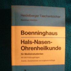 Libros de segunda mano: BOENNINGHAUS: - HALS, NASEN, OHRENHEILKUNDE - (BERLIN, 1974) (MEDICINA). Lote 39326912