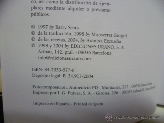 Libros de segunda mano: LA REVOLUCIONARIA DIETA DE LA ZONA - DR. BARRY SEARS - Foto 3 - 42547784