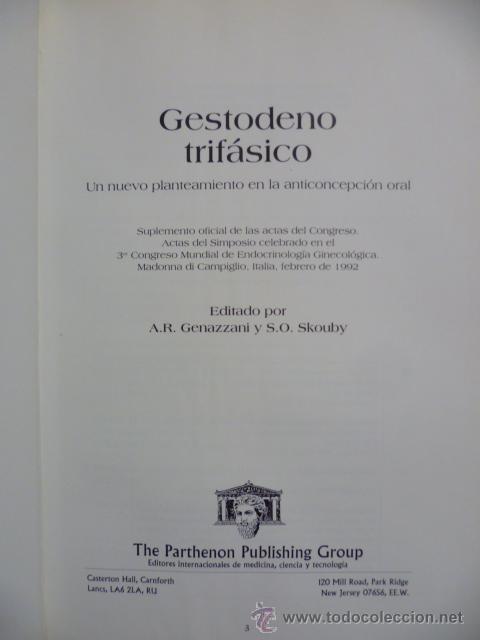 Libros de segunda mano: GESTODENO TRIFASICO POR A.R. GENAZZANI Y S.O SKOUBY - 1992 - Foto 2 - 44675058