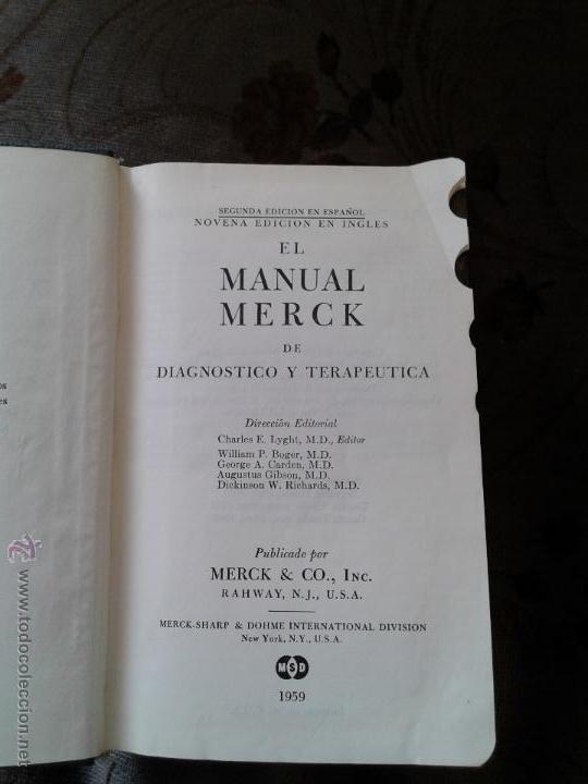 Libros de segunda mano: MANUAL MERCK DE DIAGNOSTICO Y TERAPEUTICA - 1959 - Foto 2 - 48596740