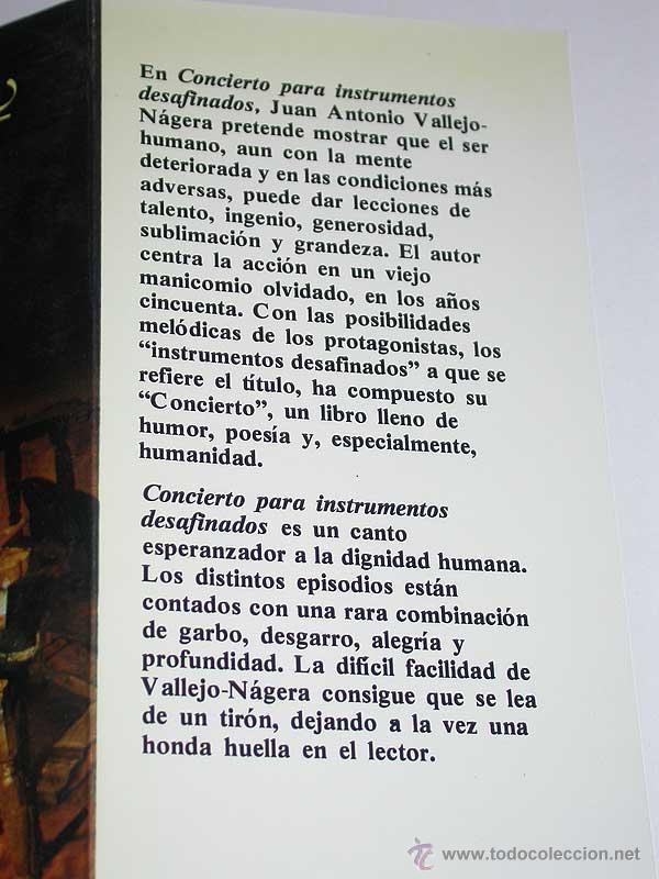 Libros de segunda mano: CONCIERTO PARA INSTRUMENTOS DESAFINADOS. Juan Antonio Vallejo Nájera. Argos Vergara, 1980. LOCOS. - Foto 2 - 49323728
