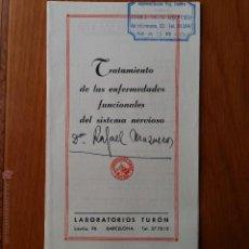 Libros de segunda mano: DESPLEGABLE TRATAMIENTO ENFERMEDADES FUNCIONALES DEL SISTEMA NERVIOSO. LABORATORIOS TURON. Lote 54386503