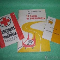 Libros de segunda mano: LOTE LIBRO SOCORRISMO MANUAL AUXILIO SOCORROS DE URGENCIA EL CONDUCTOR ANTE CASOS EMERGENCIA AÑOS 60. Lote 54696831