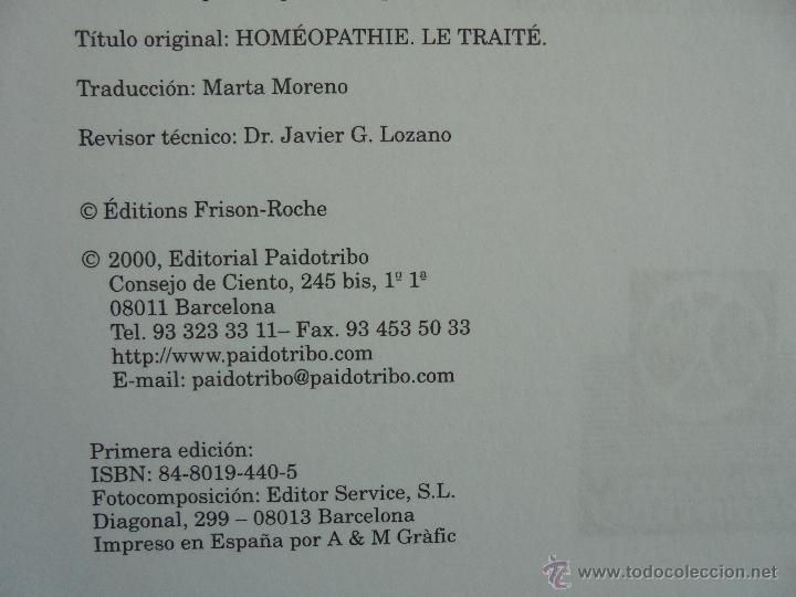 Libros de segunda mano: TRATADO DE HOMEOPATIA. COLECCION HOMEOPATIA. EDITORIAL PAIDOTRIBO 2000. VER FOTOGRAFIAS ADJUNTAS. - Foto 8 - 217854118