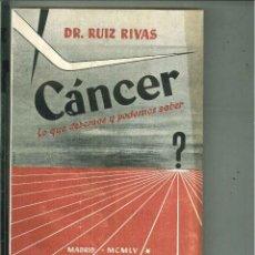 Libros de segunda mano: CÁNCER. LO QUE DEBEMOS Y PODEMOS SABER. DR. RUIZ RIVAS. Lote 57019844