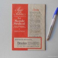 Libros de segunda mano: EL MUNDO DE LA MEDICINA , REVISTA INTERNACIONAL DE MEDICINA Y TERAPEUTICA, 1958, 96 PAGINAS. Lote 58414393