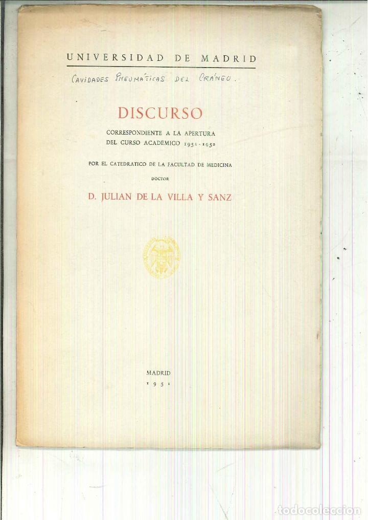 CAVIDADES PNEUMÁTICAS DEL CRÁNEO. DISCURSO. JULIÁN DE LA VILLA Y SANZ (Libros de Segunda Mano - Ciencias, Manuales y Oficios - Medicina, Farmacia y Salud)