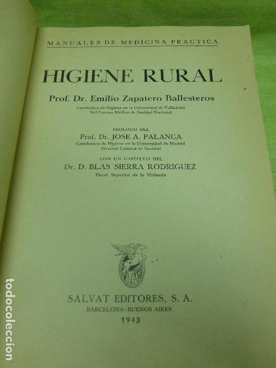 Libros de segunda mano: HIGIENE RURAL. PROF. DR. EMILIO ZAPATERO BALLESTEROS. MANUALES DE MEDICINA PRÁCTICA - Foto 4 - 75854587