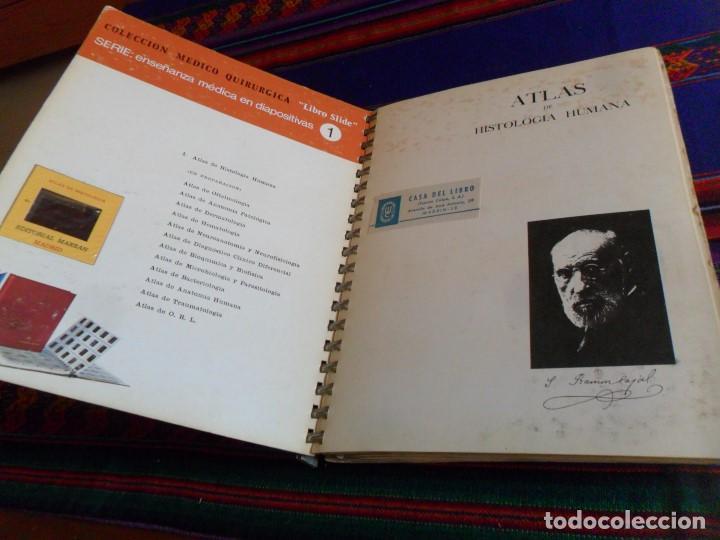 Libros de segunda mano: ATLAS DE HISTOLOGÍA HUMANA FASCÍCULO 9 CON 120 DIAPOSITIVAS. MARBAN 1ª ED. 1974. RARO. - Foto 3 - 77413913