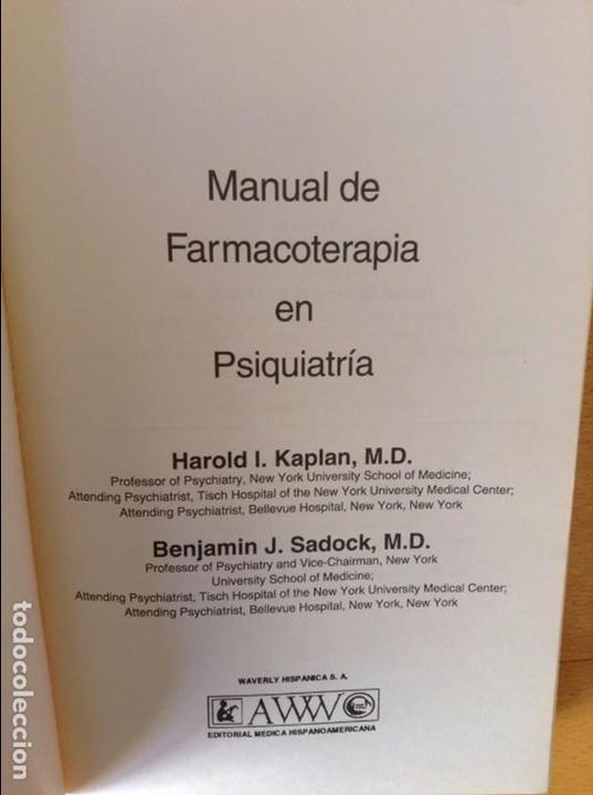 Libros de segunda mano: MANUAL DE FARMACOTERAPIA EN PSIQUIATRIA - HAROLD I. KAPLAN , BENJAMIN J. SADOCK - - Foto 2 - 78848305