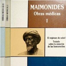 Libros de segunda mano: MAIMONIDES. OBRAS MÉDICAS. I:EL RÉGIMEN DE SALUD. TRATADO SOBRE LA CURACIÓN DE LAS HEMORROIDES. 1991. Lote 98198435