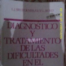 Libros de segunda mano: LIBRO Nº 973 DIAGNOSTICO Y TRATAMIENTO DE LAS DIFICULTADES EN EL APRENDIZAJE. Lote 101161003
