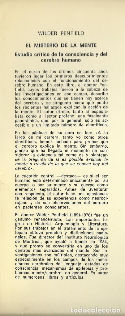 Libros de segunda mano: EL MISTERIO DE LA MENTE, Wilder Penfield - Foto 2 - 109179075