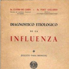 Libros de segunda mano: S35- LIBRO DE 52 PAGS - INFLUENZA - MADRID 1946 DRS. CLAVERO Y GALLARDO. Lote 111182999