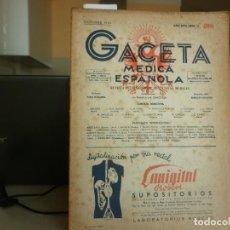 Libros de segunda mano: GACETA MEDICA ESPAÑOLA - REVISTA INTERNACIONAL DE CIENCIAS MEDICAS Nº 205 AÑO 1943. Lote 116866567