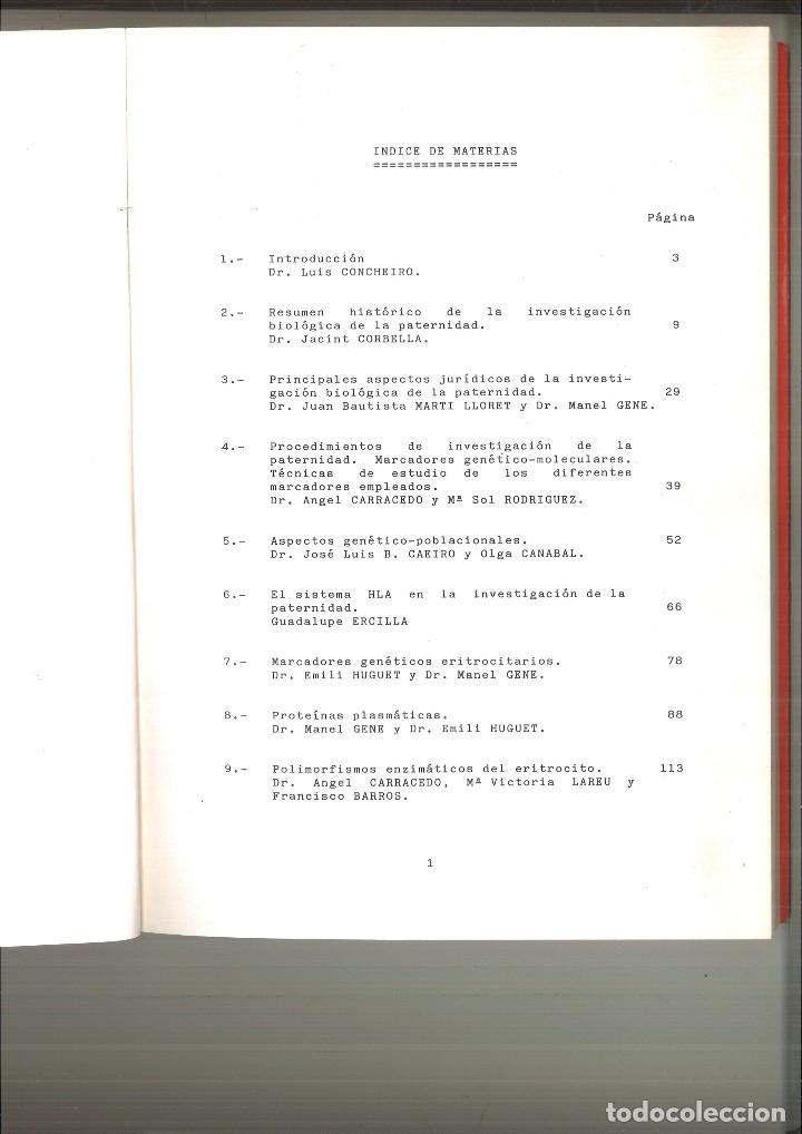 Libros de segunda mano: INTRODUCCIÓN A LA INVESTIGACIÓN BIOLÓGICA DE LA PATERNIDAD. Emili Huguet, Ángel Carracedo y M. Gené - Foto 2 - 120178655