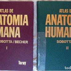 Libros de segunda mano: ATLAS DE ANATOMÍA HUMANA I Y II - SOBOTTA / BECHER - TORAY 1974 - VER ÍNDICE. Lote 146069904