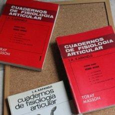 Libros de segunda mano: CUADERNOS DE FISIOLOGÍA ARTICULAR. KAPANDJI (I.A.) BARCELONA, TORAY-MASSON, 1970.. Lote 141692046