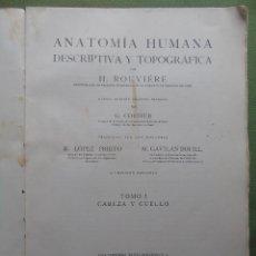 Libros de segunda mano: ANATOMÍA HUMANA DESCRIPTIVA Y TOPOGRÁFICA. TOMO I CABEZA Y CUELLO. EDT. BAILLY - BAILLIÉRE S.A. 1961. Lote 147648522