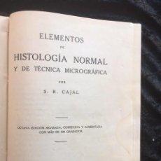 Libros de segunda mano: ELEMENTOS DE HISTOLOGIA NORMAL Y DE TECNICA MICROGRAFICA - SANTIAGO RAMON Y CAJAL - 1926. Lote 148004082