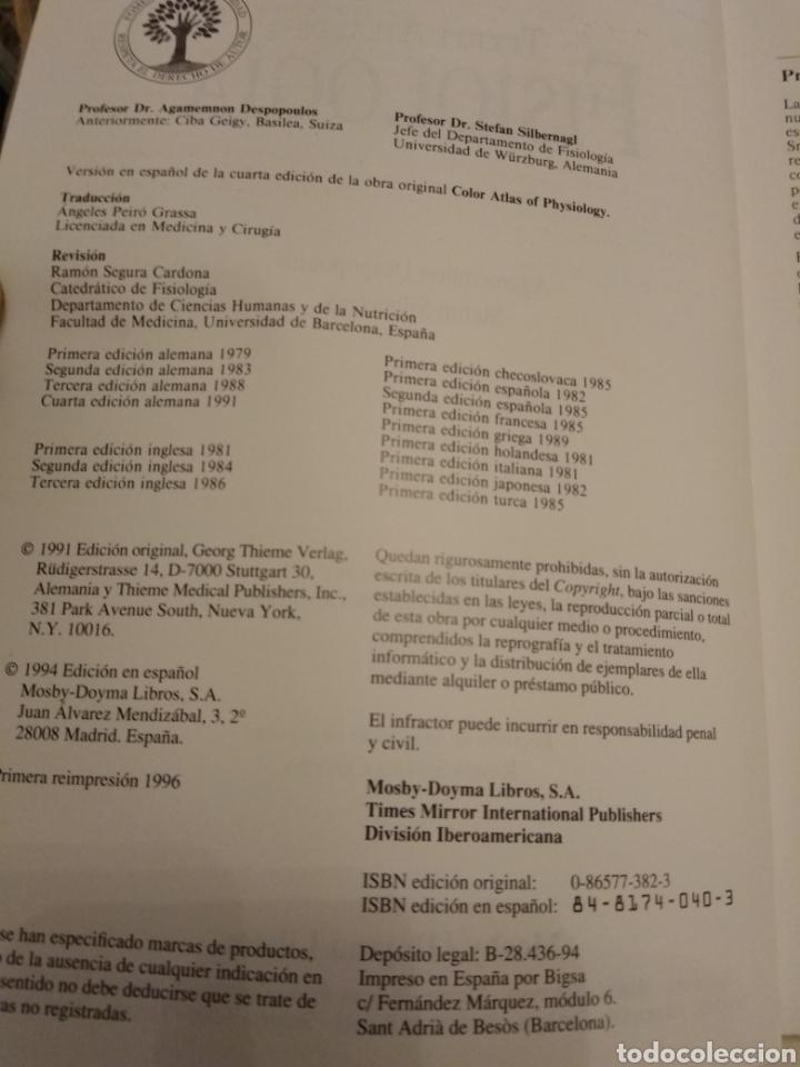 Libros de segunda mano: TEXTO Y ATLAS DE FISIOLOGÍA AGAMEMNON DESPOPOULOS STEFAN SILBERNAGL MOSBY DOYMA LIBROS 1996 - Foto 5 - 149544740