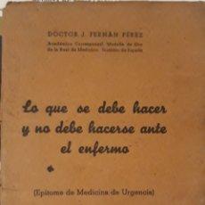 Libros de segunda mano: EPÍTOME DE MEDICINA DE URGENCIA 1942. Lote 150819768