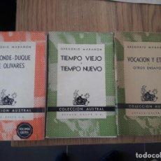 Libros de segunda mano: 3 LIBROS DE CAJAL Y MARAÑON. PRIMERAS EDICIONES. MUY BUEN ESTADO. ENVIO 4€. Lote 151221634