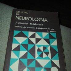 Libros de segunda mano: MANUAL DE NEUROLOGIA J. CAMBIER, M. MASSON EDITORIAL:TORAY MASSON. Lote 152844222