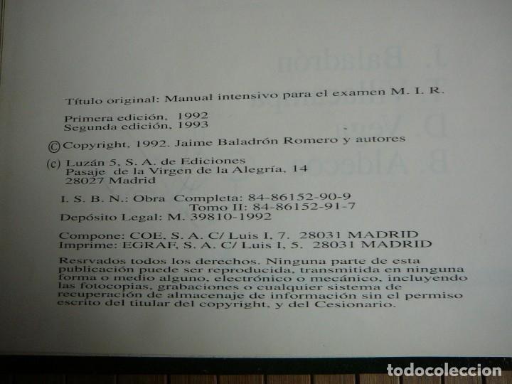 Libros de segunda mano: Manual intensivo para el examen MIR. Tomo II Editorial Luzán 5 1993. Jaime Baladrón Romero y varios. - Foto 12 - 157982774