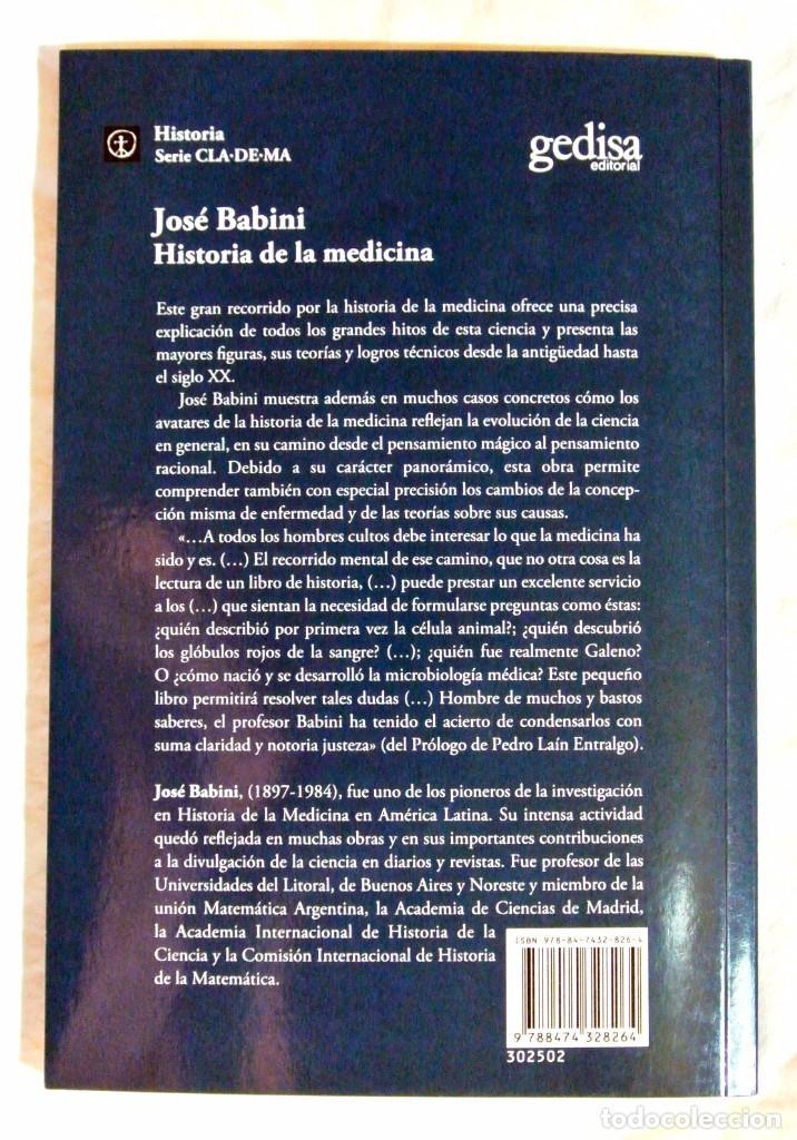 Libros de segunda mano: Libro HISTORIA DE LA MEDICINA , José Babini , 2011 , Gedisa editorial , 22.5 x 15.1 cms - Foto 3 - 158489170