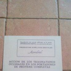 Libros de segunda mano: ACCION DE LOS TRAUMATISMOS OCLUSALES EN LOS PORTADORES DE PROTESIS COMPLETAS POR DR.D. LUIS SUBIRANA. Lote 170007476
