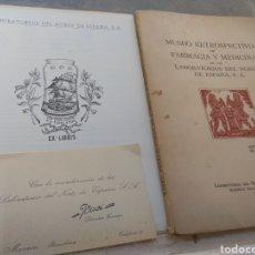 Libros de segunda mano: LIBRO FOLLETO Y TARJETA MUSEO RETROSPECTIVO DE FARMACIA Y MEDICINA 1952 - TARRO Y MORTERO FARMACIA. Lote 170197036