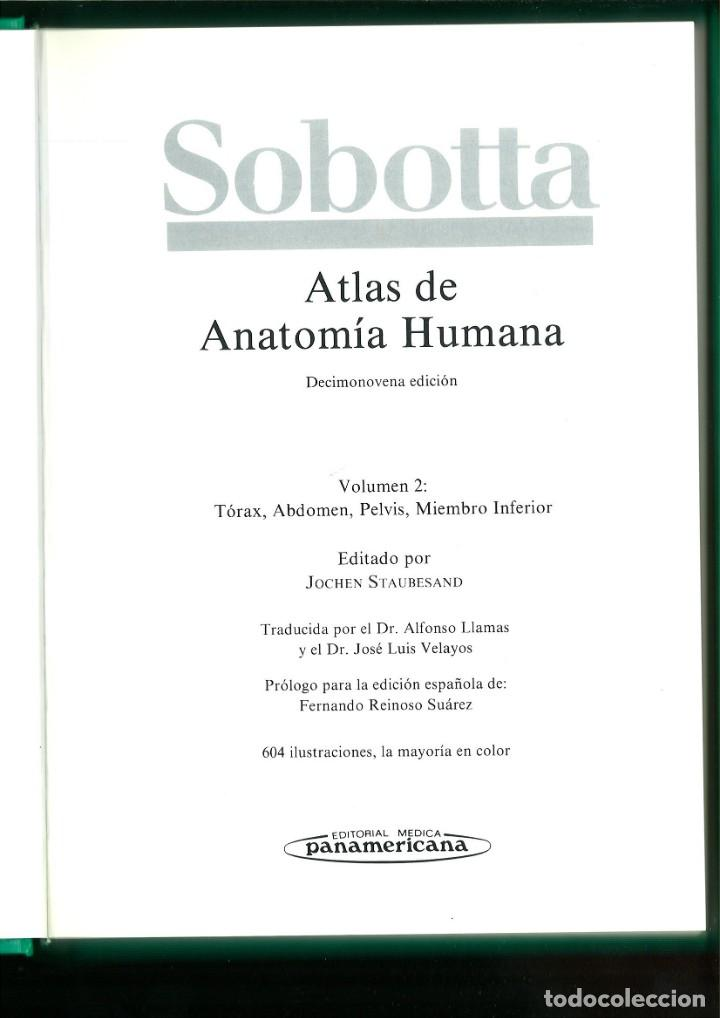 Libros de segunda mano: ATLAS DE ANATOMÍA HUMANA SOBOTTA. Jochen Staubesand - Foto 5 - 171522769