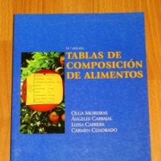 Libros de segunda mano: TABLAS DE COMPOSICIÓN DE ALIMENTOS (CIENCIA Y TÉCNICA) / OLGA MOREIRAS, LUISA CABRERA, ÁNGELES CARBA. Lote 261131380
