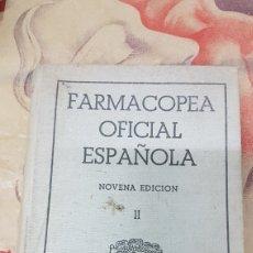 Libros de segunda mano: FARMACOPEA OFICIAL ESPAÑOLA NOVENA EDICION. Lote 179539070